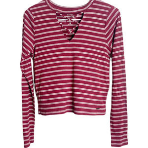 Hollister Must-Have Collection Women's Crop Top Long Sleeve Red White Striped S